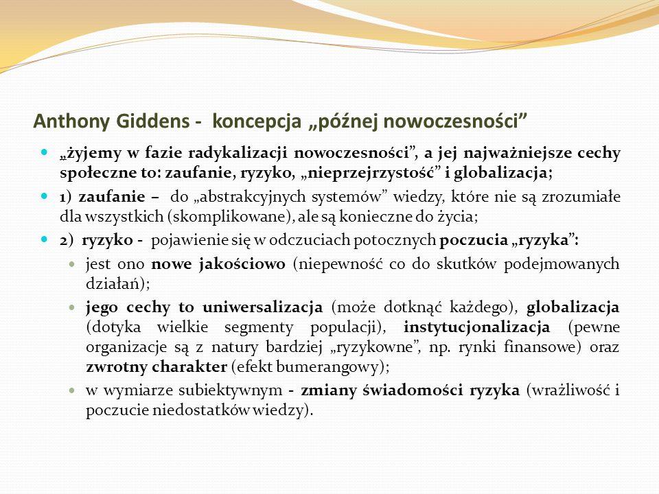 """Anthony Giddens - koncepcja """"późnej nowoczesności"""