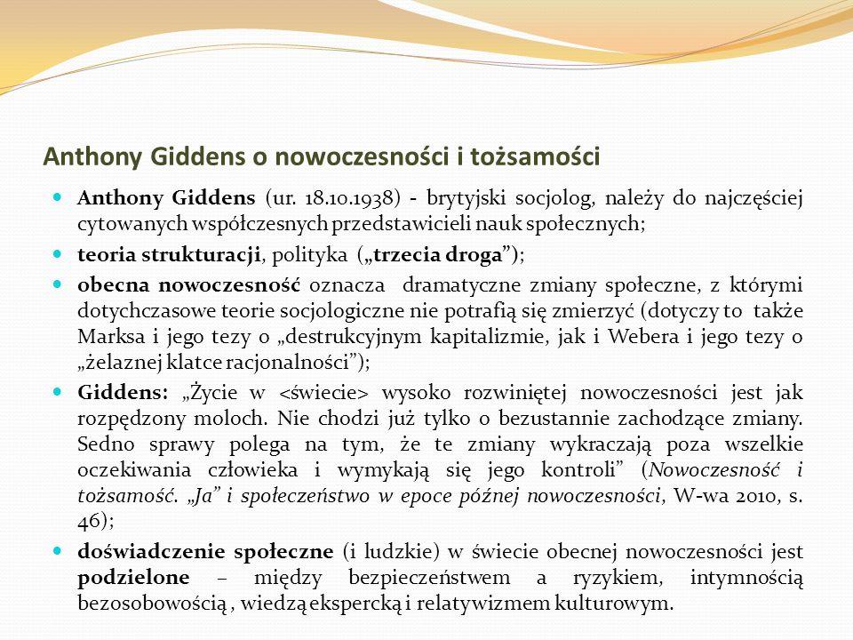 Anthony Giddens o nowoczesności i tożsamości
