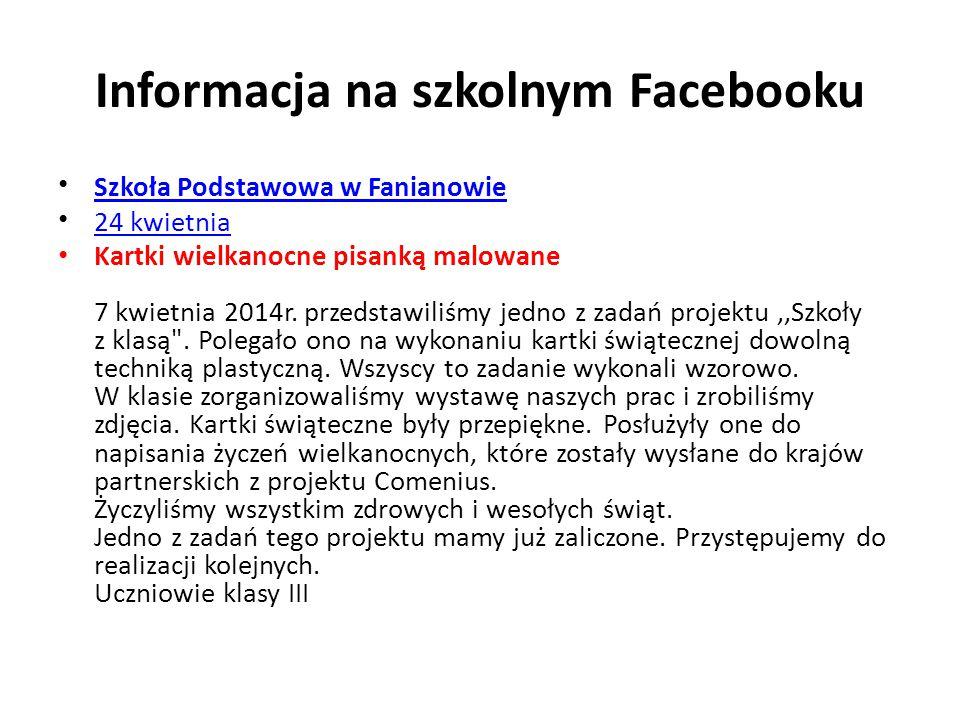 Informacja na szkolnym Facebooku