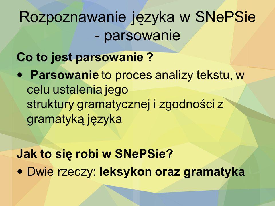 Rozpoznawanie języka w SNePSie - parsowanie