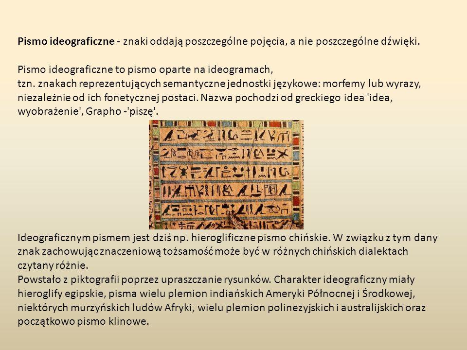 Pismo ideograficzne - znaki oddają poszczególne pojęcia, a nie poszczególne dźwięki. Pismo ideograficzne to pismo oparte na ideogramach,