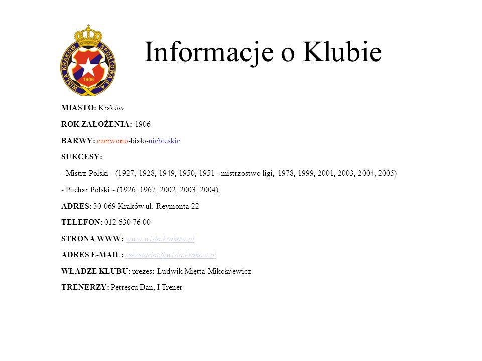 Informacje o Klubie MIASTO: Kraków ROK ZAŁOŻENIA: 1906