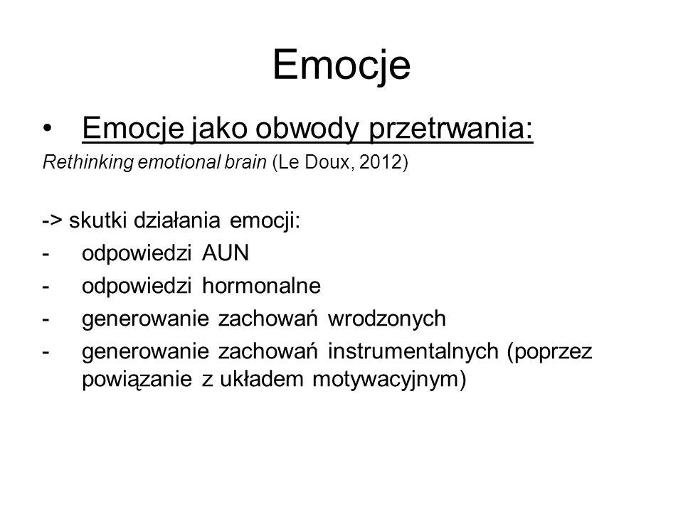 Emocje Emocje jako obwody przetrwania: -> skutki działania emocji: