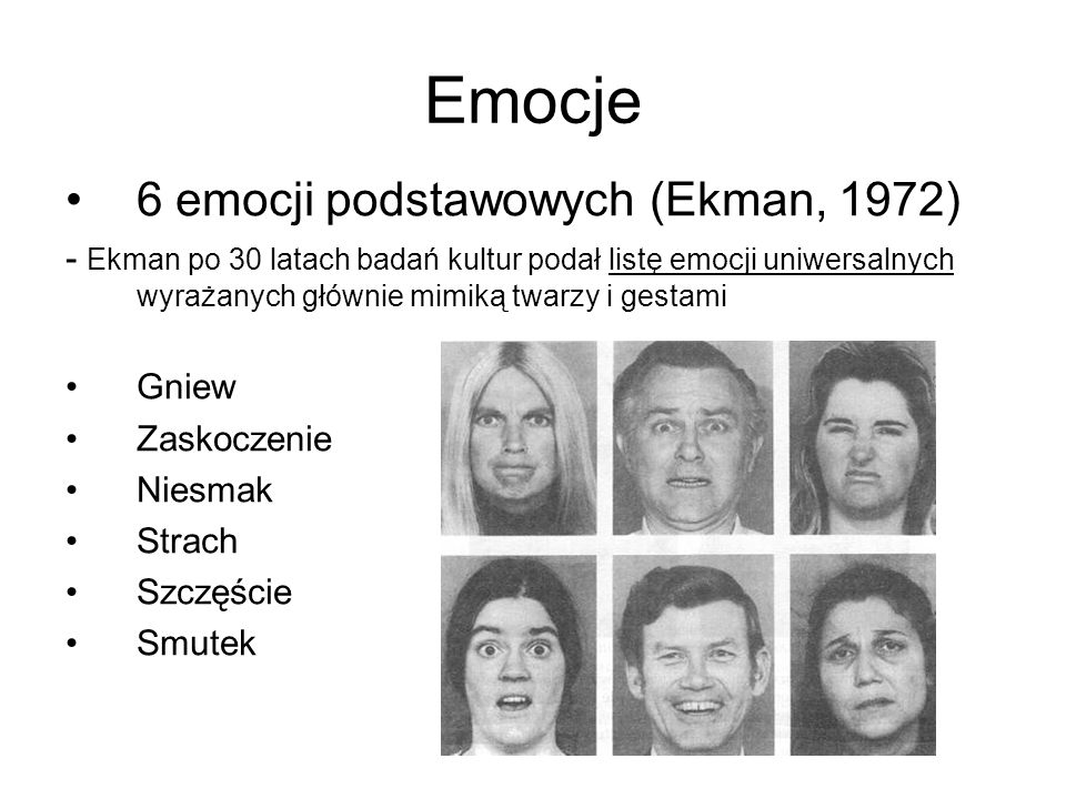Emocje 6 emocji podstawowych (Ekman, 1972)