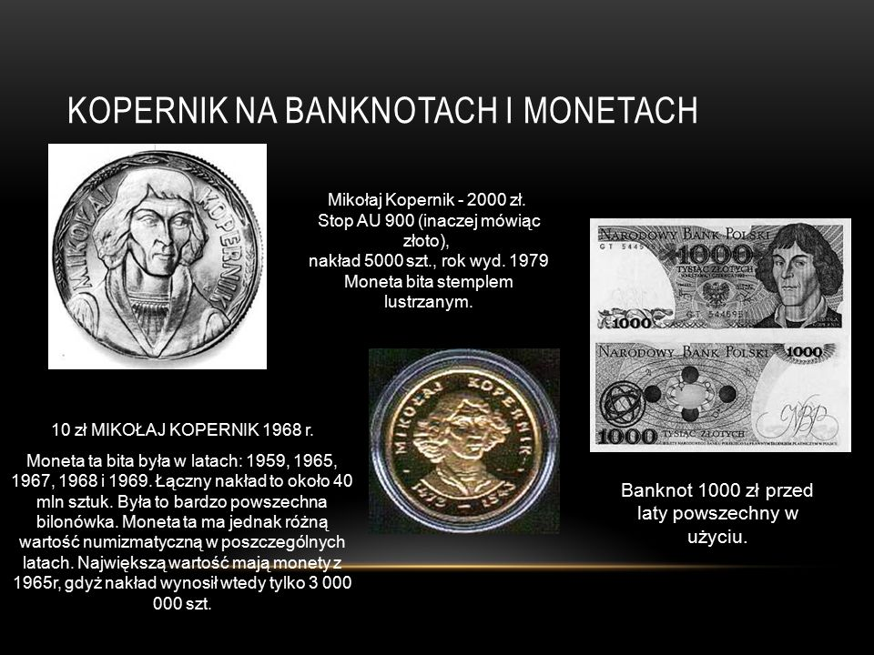 Kopernik na banknotach i monetach