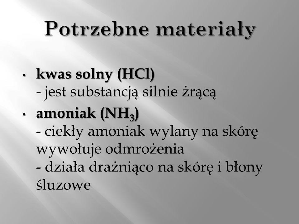 Potrzebne materiały kwas solny (HCl) - jest substancją silnie żrącą