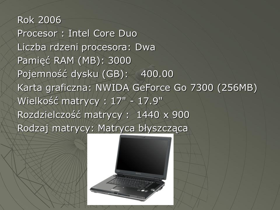 Rok 2006 Procesor : Intel Core Duo Liczba rdzeni procesora: Dwa