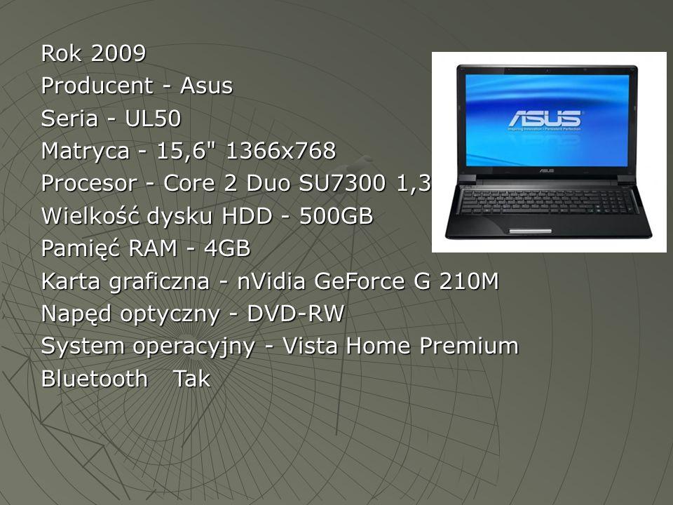Rok 2009 Producent - Asus. Seria - UL50. Matryca - 15,6 1366x768. Procesor - Core 2 Duo SU7300 1,3.