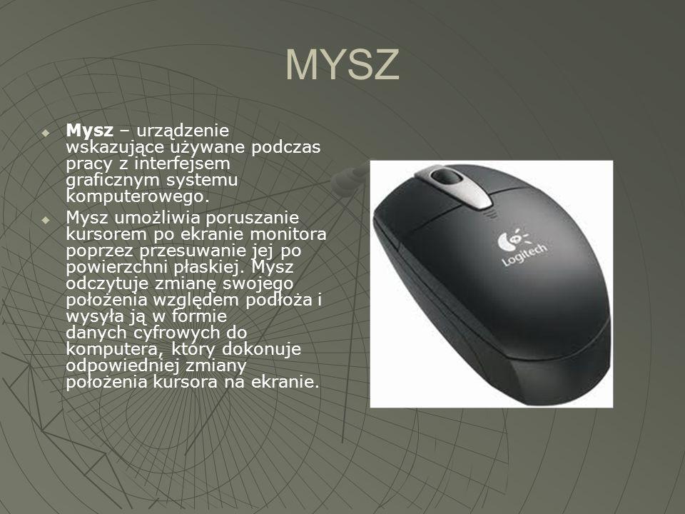 MYSZ Mysz – urządzenie wskazujące używane podczas pracy z interfejsem graficznym systemu komputerowego.