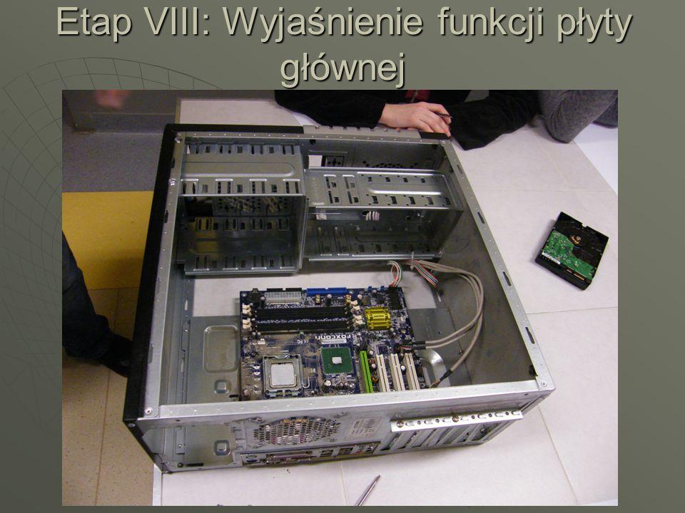 Etap VIII: Wyjaśnienie funkcji płyty głównej