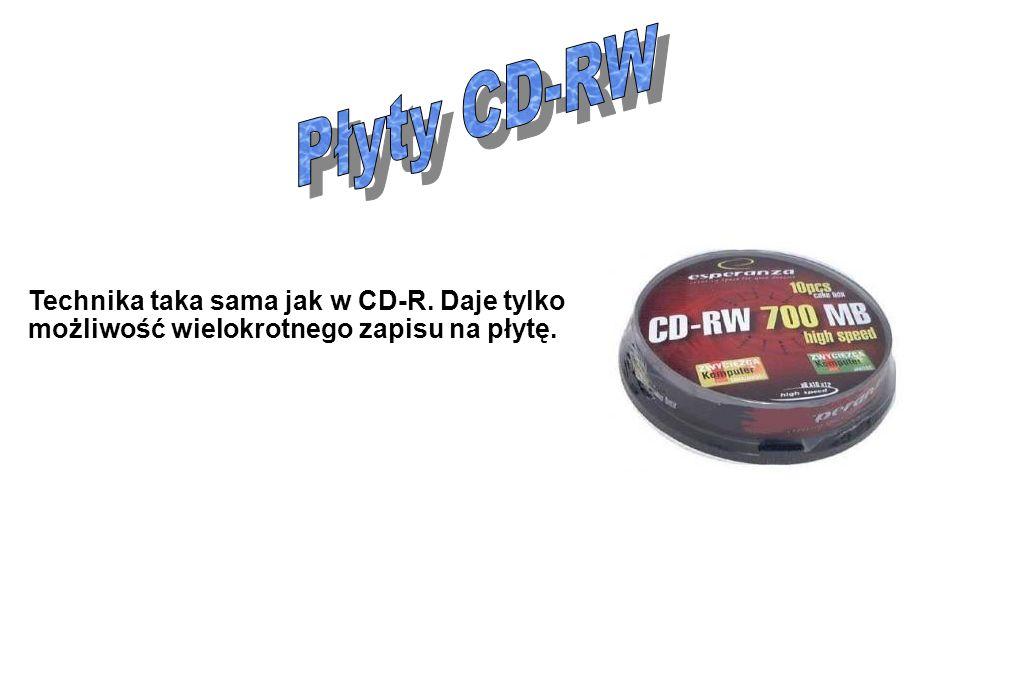 Płyty CD-RW Technika taka sama jak w CD-R. Daje tylko możliwość wielokrotnego zapisu na płytę.
