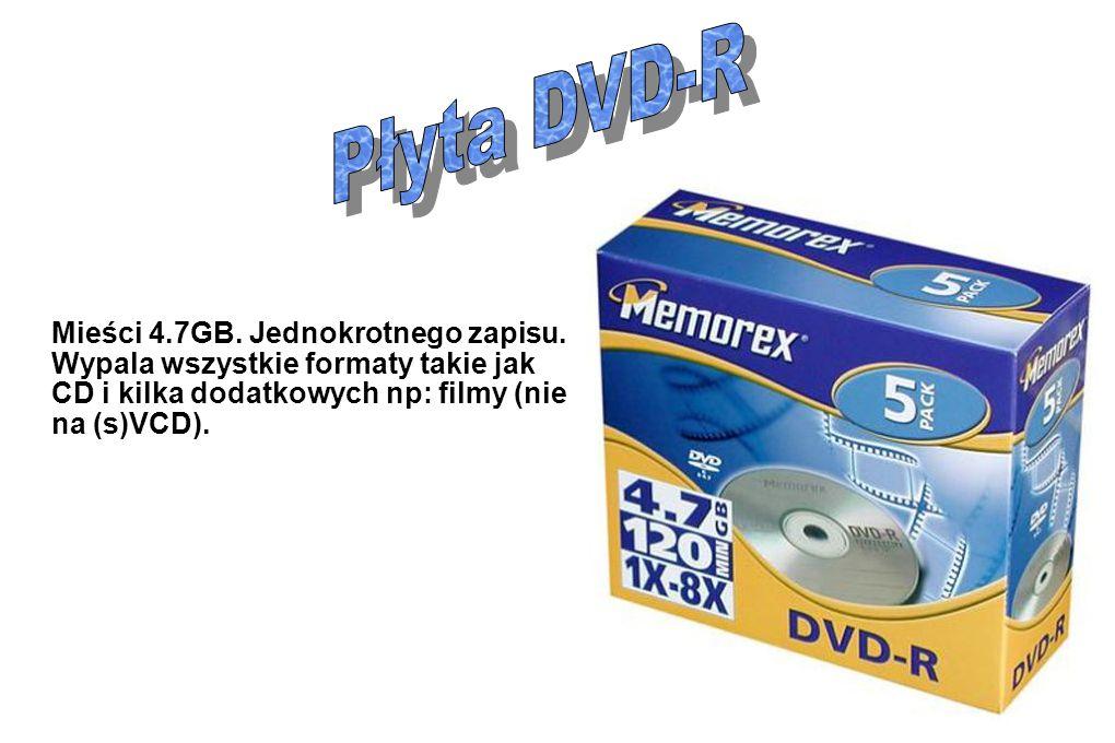 Płyta DVD-R Mieści 4.7GB. Jednokrotnego zapisu.
