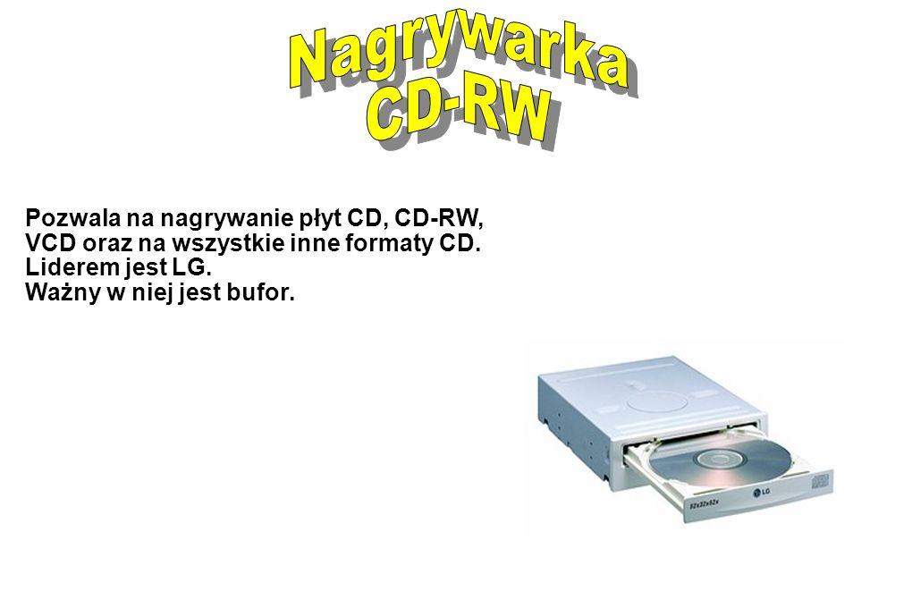 Nagrywarka CD-RW. Pozwala na nagrywanie płyt CD, CD-RW, VCD oraz na wszystkie inne formaty CD. Liderem jest LG.