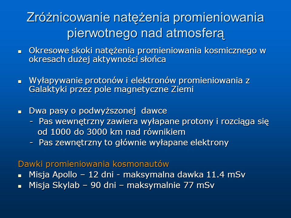 Zróżnicowanie natężenia promieniowania pierwotnego nad atmosferą