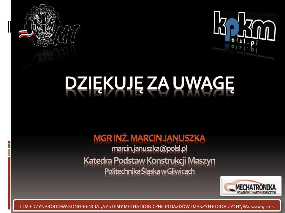 DZIĘKUJĘ ZA UWAGĘ mgr inż. Marcin januszka marcin.januszka@polsl.pl
