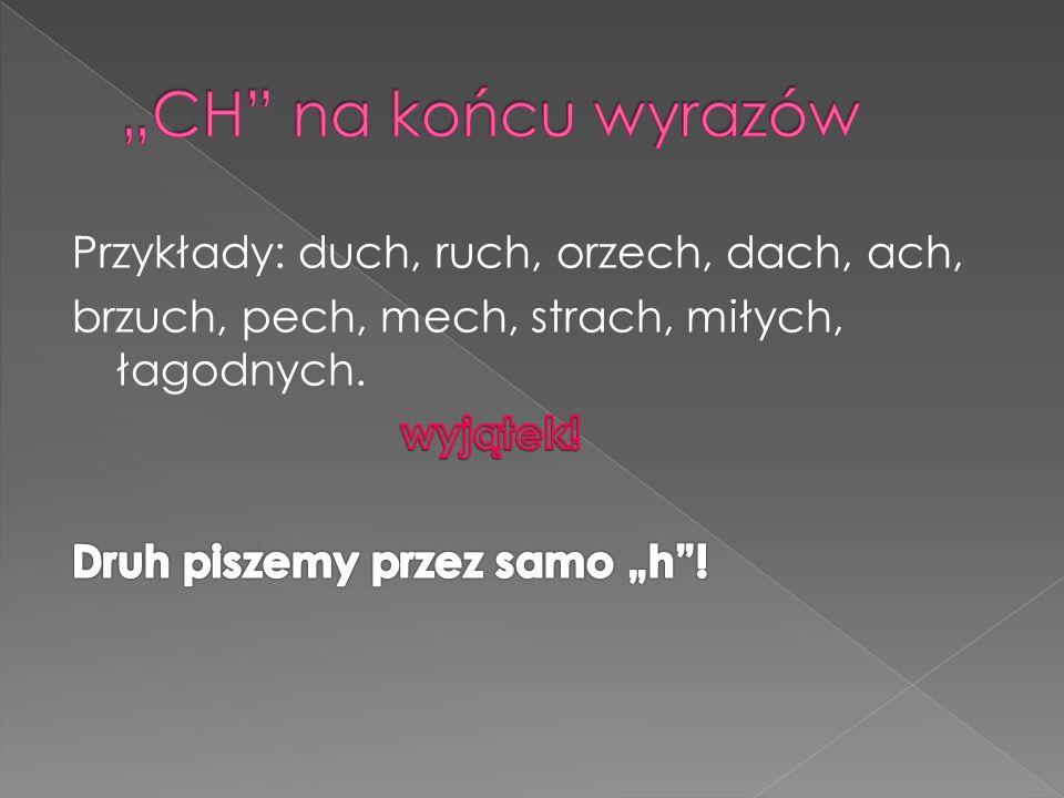 """""""CH na końcu wyrazów Przykłady: duch, ruch, orzech, dach, ach, brzuch, pech, mech, strach, miłych, łagodnych."""