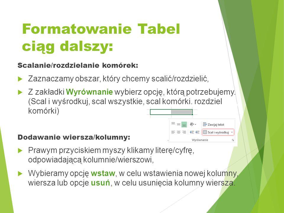 Formatowanie Tabel ciąg dalszy: