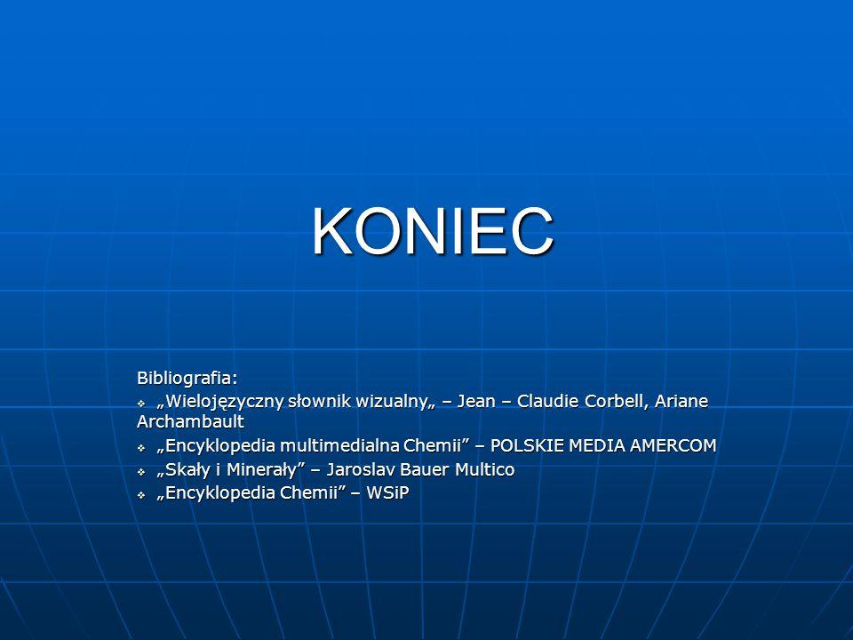 """KONIEC Bibliografia: """"Wielojęzyczny słownik wizualny"""" – Jean – Claudie Corbell, Ariane Archambault."""