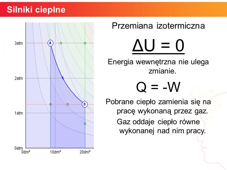 ΔU = 0 Q = -W Silniki cieplne Przemiana izotermiczna informatyka +