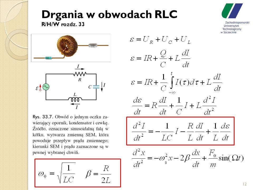 Drgania w obwodach RLC R/H/W rozdz. 33