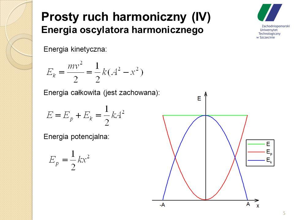 Prosty ruch harmoniczny (IV) Energia oscylatora harmonicznego