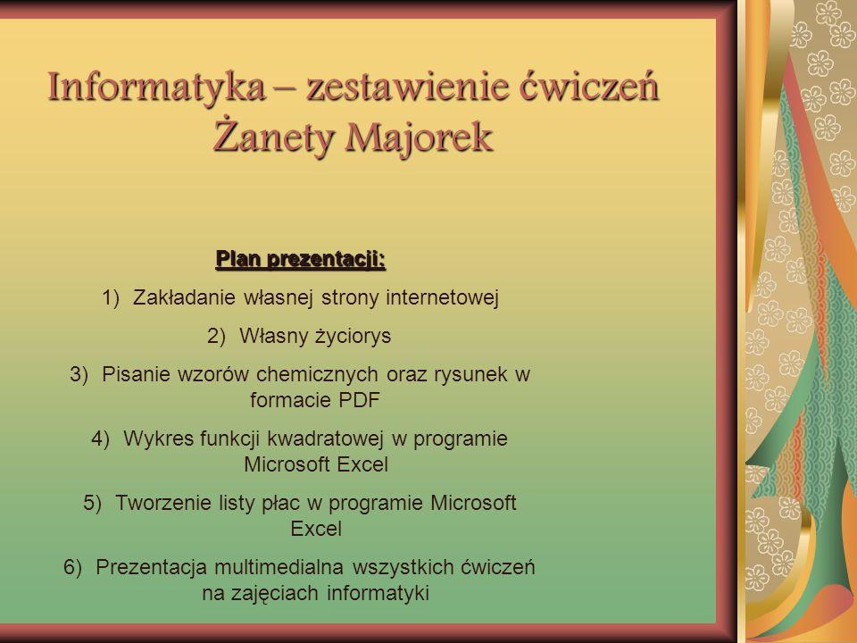 Informatyka – zestawienie ćwiczeń Żanety Majorek