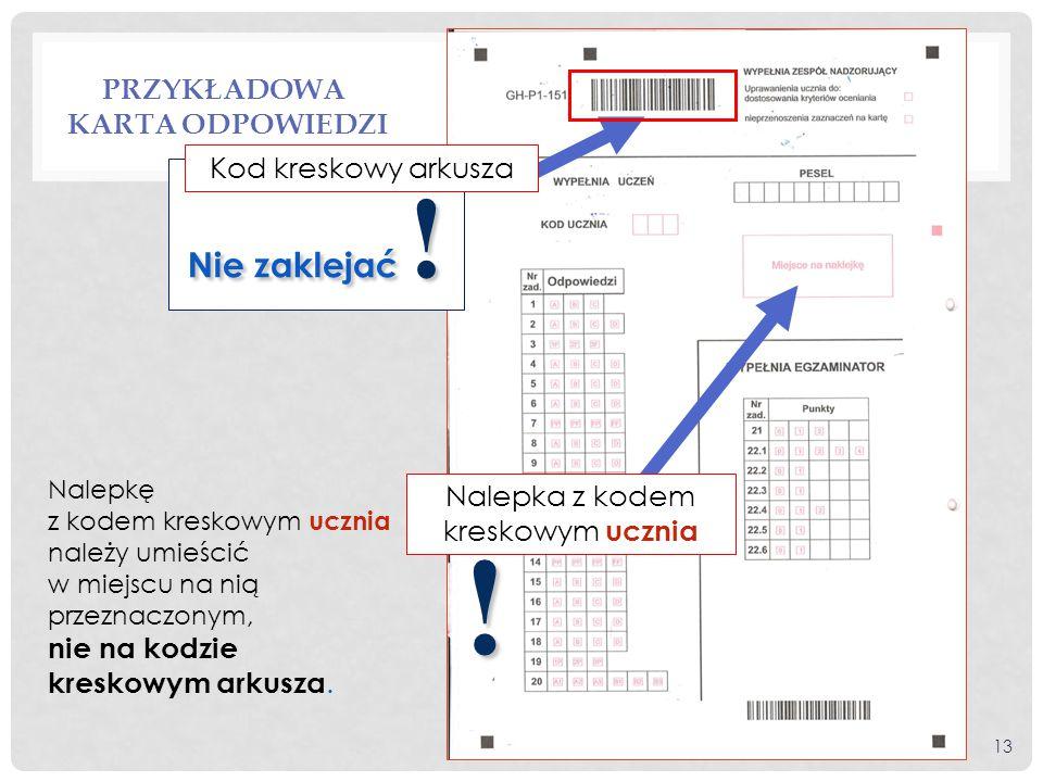 Przykładowa karta odpowiedzi