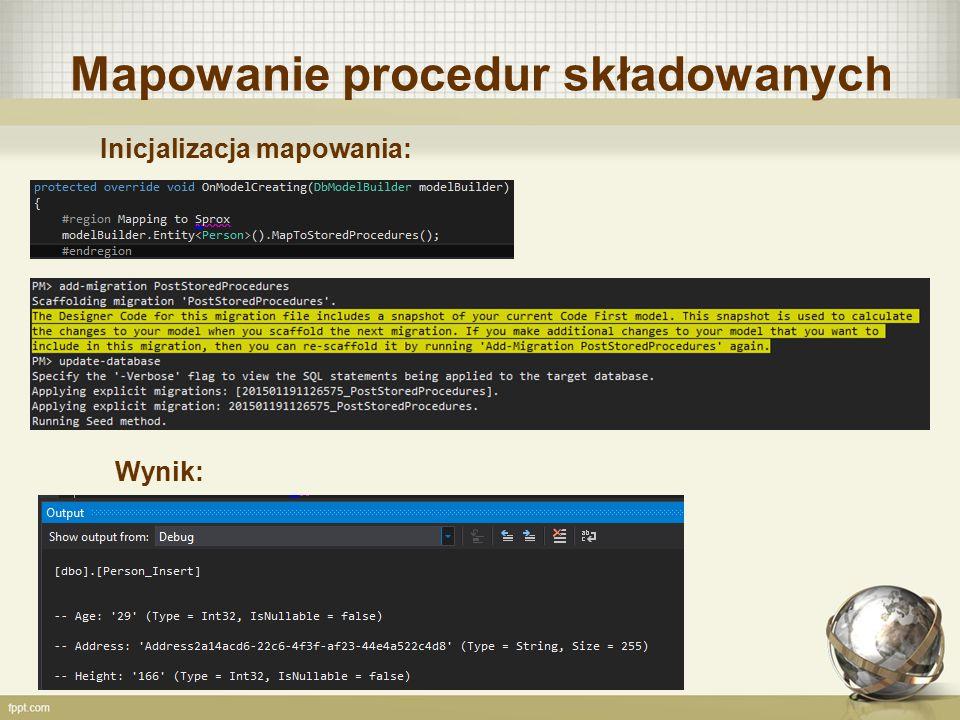Mapowanie procedur składowanych