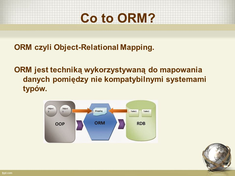 Co to ORM ORM czyli Object-Relational Mapping.