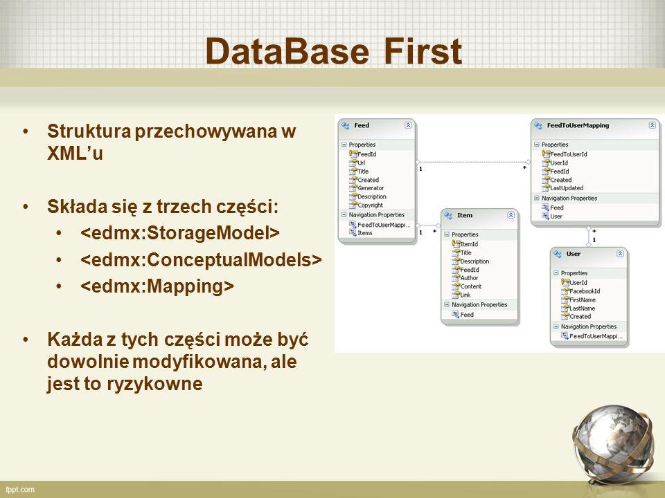 DataBase First Struktura przechowywana w XML'u