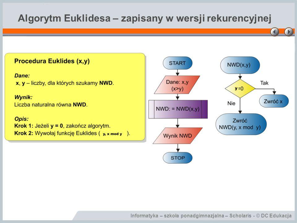 Algorytm Euklidesa – zapisany w wersji rekurencyjnej