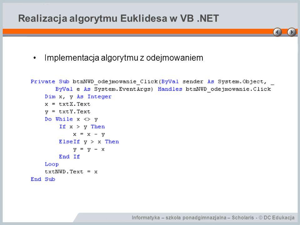 Realizacja algorytmu Euklidesa w VB .NET