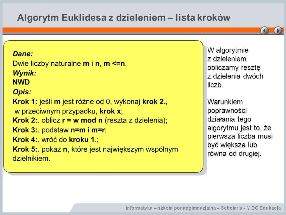 Algorytm Euklidesa z dzieleniem – lista kroków