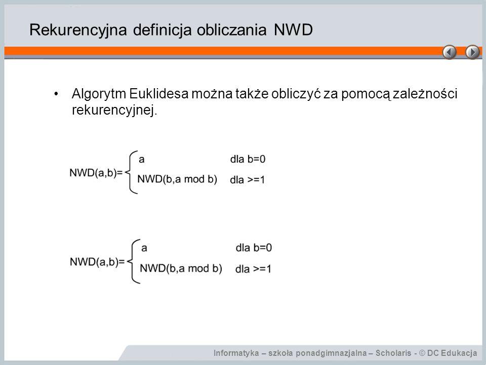 Rekurencyjna definicja obliczania NWD