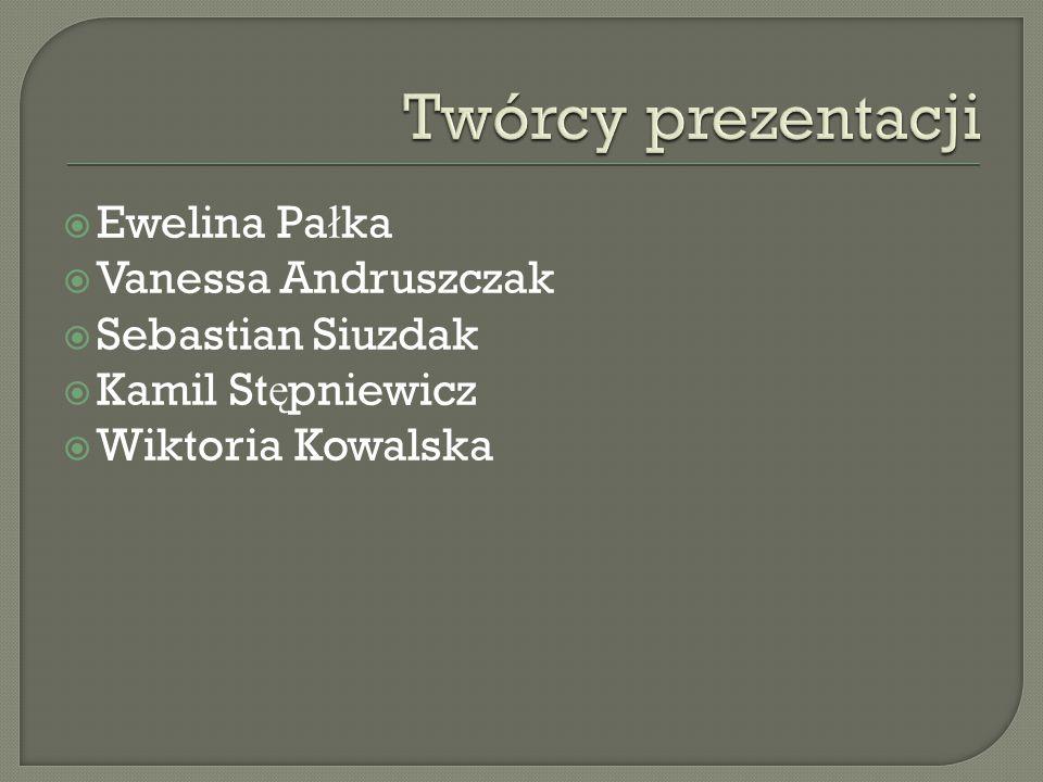 Twórcy prezentacji Ewelina Pałka Vanessa Andruszczak Sebastian Siuzdak