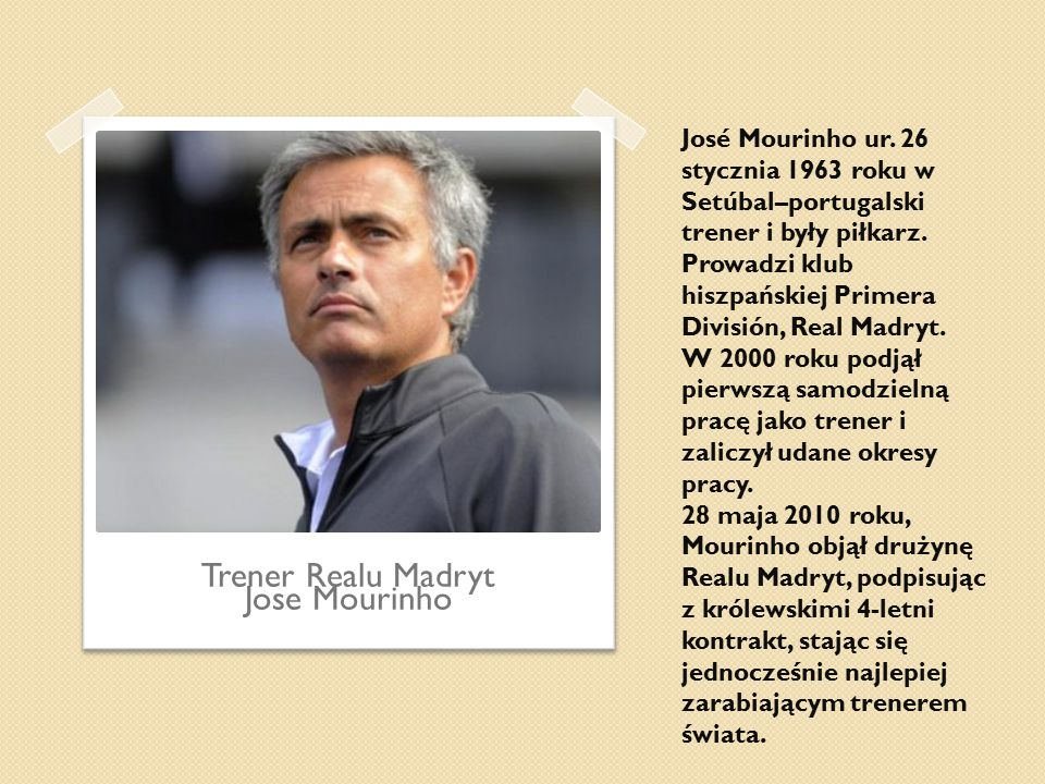 Trener Realu Madryt Jose Mourinho