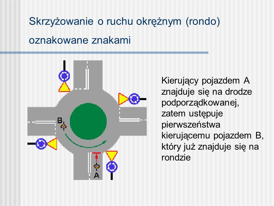 Skrzyżowanie o ruchu okrężnym (rondo) oznakowane znakami