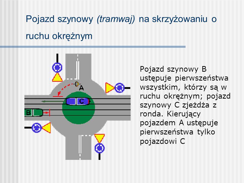 Pojazd szynowy (tramwaj) na skrzyżowaniu o ruchu okrężnym