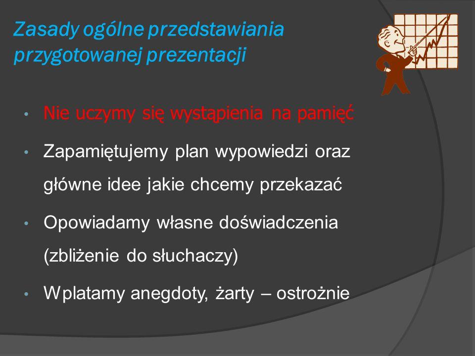 Zasady ogólne przedstawiania przygotowanej prezentacji