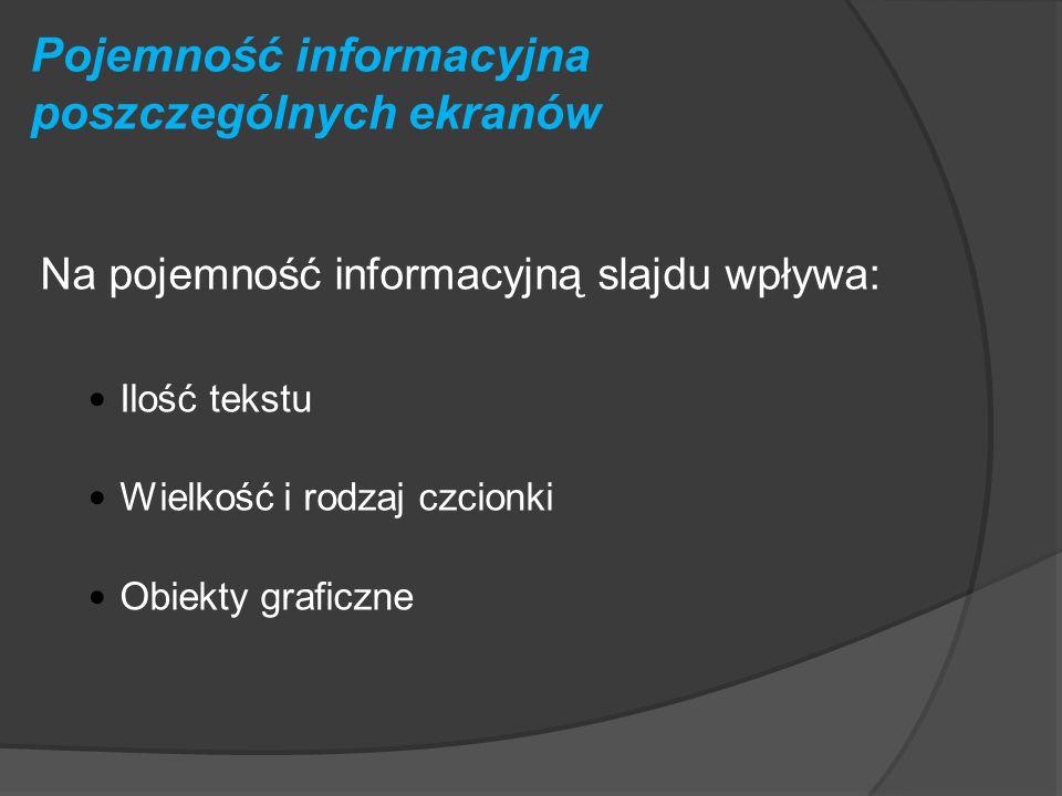 Pojemność informacyjna poszczególnych ekranów