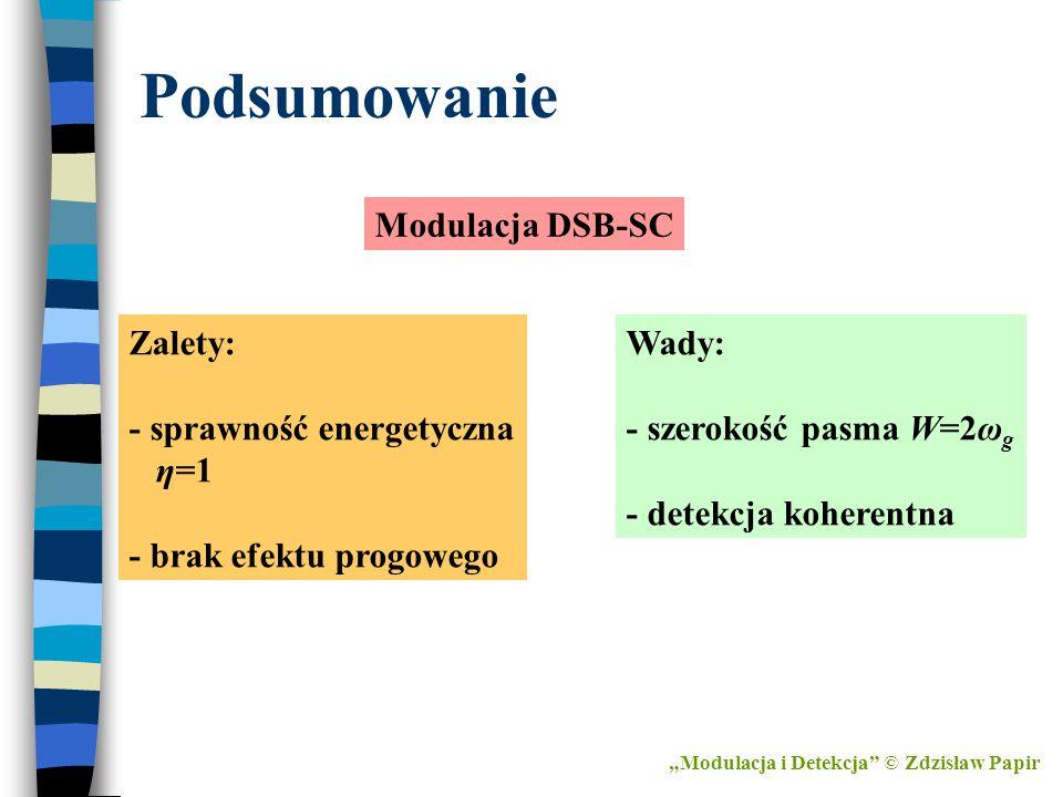 Podsumowanie Modulacja DSB-SC Zalety: - sprawność energetyczna η=1
