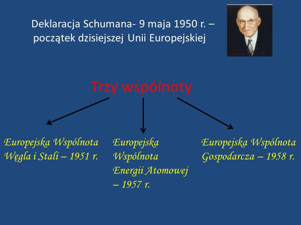Trzy wspólnoty Deklaracja Schumana- 9 maja 1950 r. –
