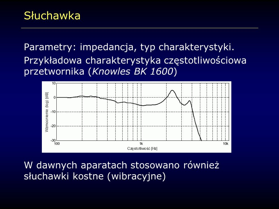 Słuchawka Parametry: impedancja, typ charakterystyki.