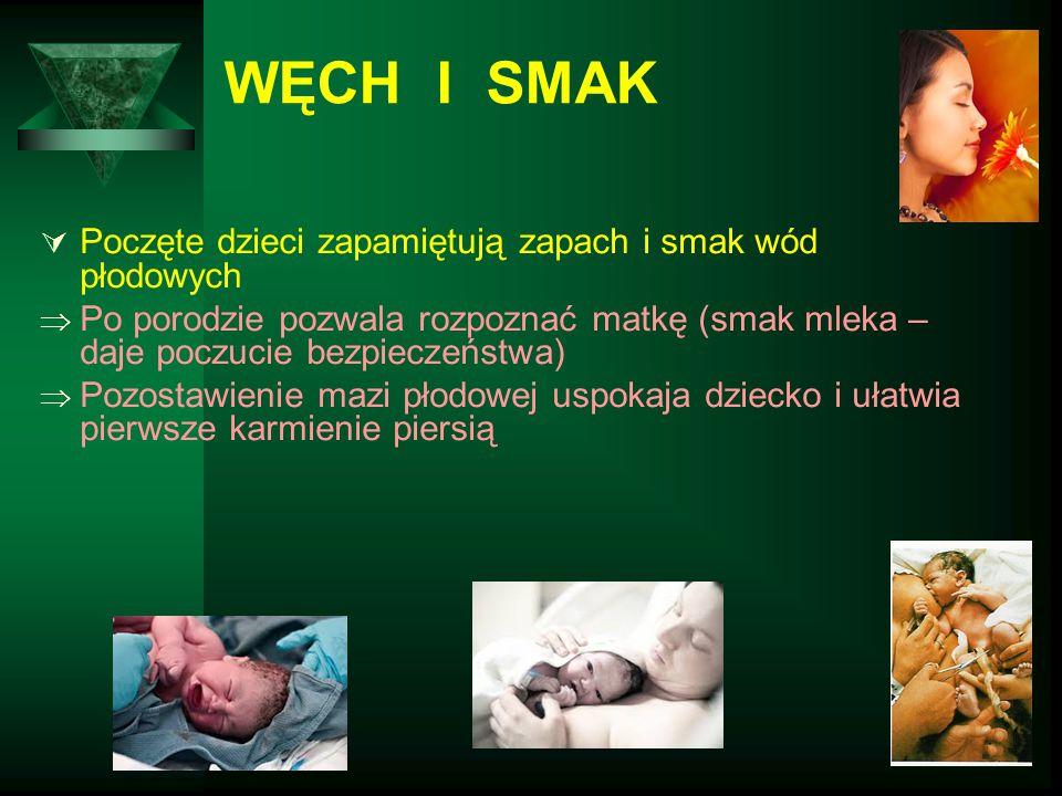 WĘCH I SMAK Poczęte dzieci zapamiętują zapach i smak wód płodowych
