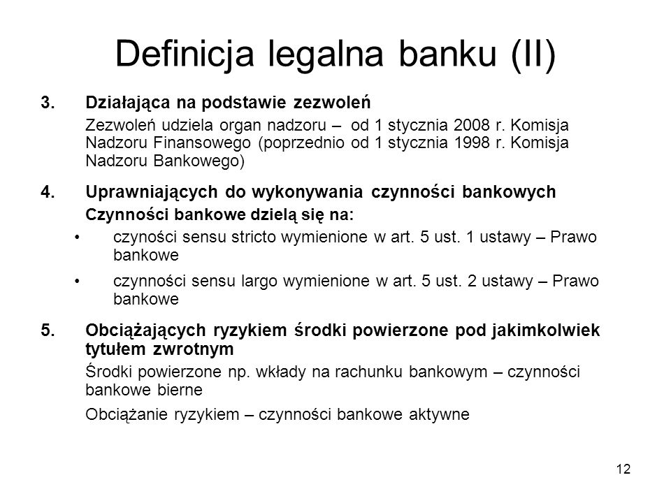 Definicja legalna banku (II)