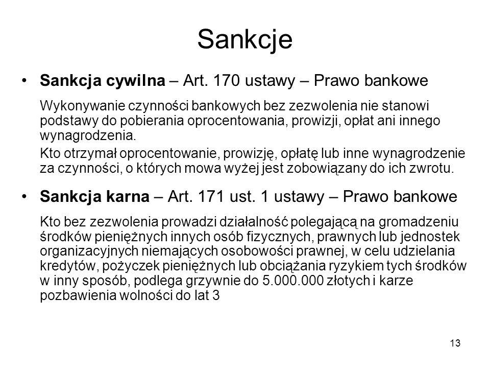 Sankcje Sankcja cywilna – Art. 170 ustawy – Prawo bankowe