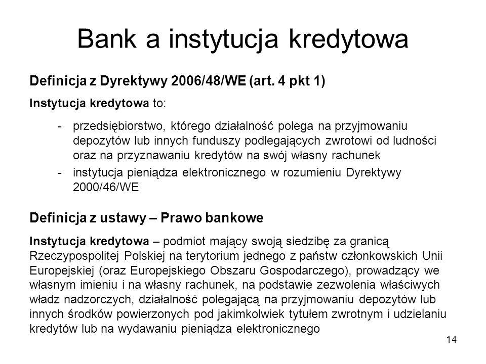 Bank a instytucja kredytowa