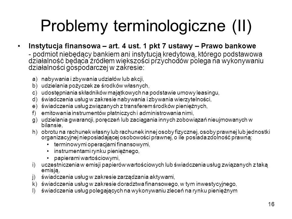 Problemy terminologiczne (II)