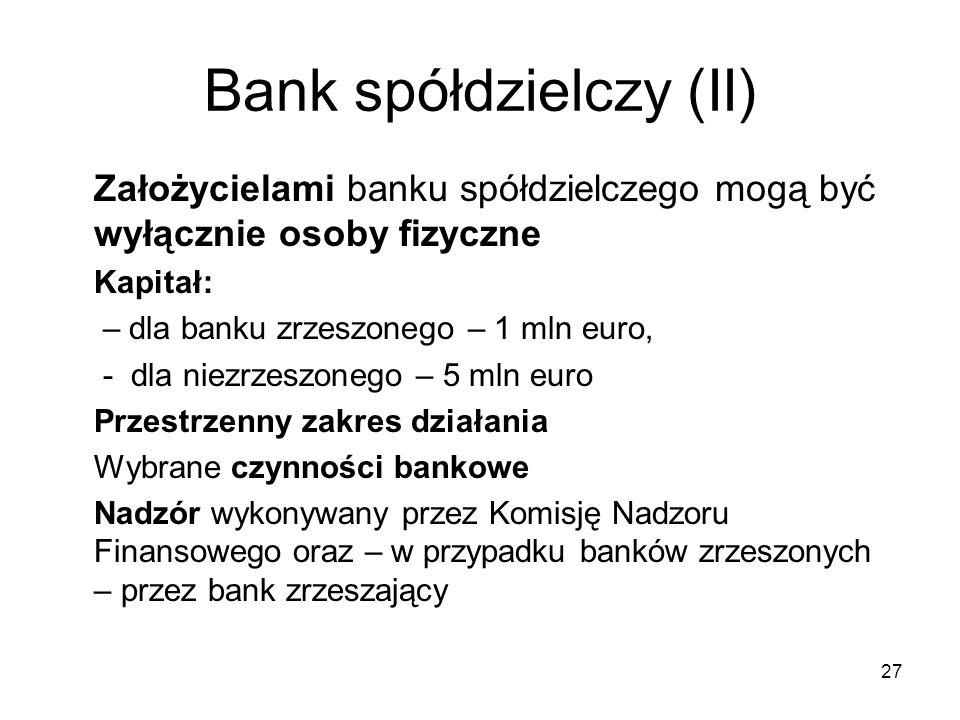 Bank spółdzielczy (II)