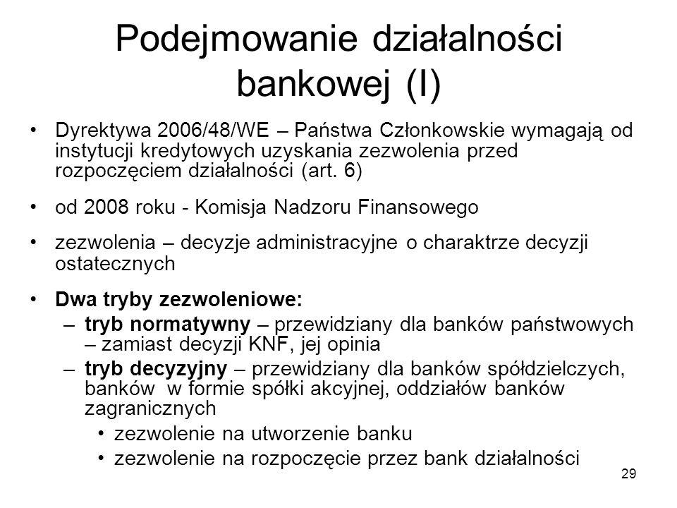 Podejmowanie działalności bankowej (I)